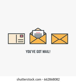 You've got mail concept. Line style flat modern vector illustration with retro colors. Closed envelop, postcard with postage stamp and opened envelope with letter or document in it.