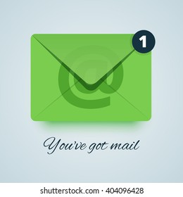 You've got mail vector illustration. Green envelope icon with transparent effect. Paper style with soft shadow.