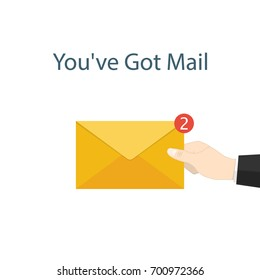 You've got mail,hand hold mail notifications vector