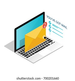 You've got mail,isometric Email laptop notifications vector