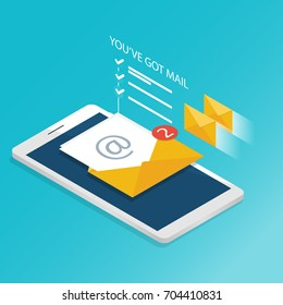 You've got mail,isometric Email smartphone notifications application vector