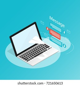 You've got mail,isometric laptop send message rocket paper,application notifications vector