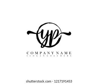 YP initial handwriting logo circle template vector
