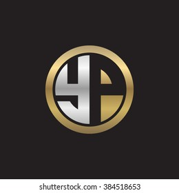 YP initial letters circle elegant logo golden silver black background