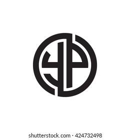 YP initial letters looping linked circle monogram logo