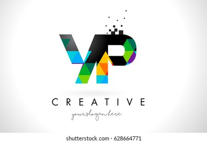 YP Y P Letter Logo with Colorful Vivid Triangles Texture Design Vector Illustration.