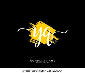 YQ Y Q Initial handwriting logo template