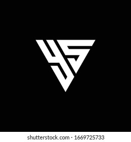 YS Logo letter monogram with triangle shape design template isolated on black background