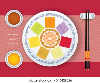 """Yu Sheng or Lou Sang is a appetizer eating during Chinese New Year, it consists of raw fish, shredded vegetables, sauces and condiments. Symbolism of """"good luck"""" for the new year."""