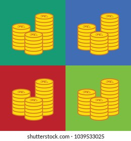 Yuan Currency Gold coin Stack. Financial growth concept with golden coin Yuan.