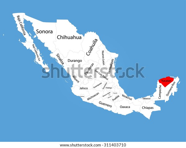 Yucatan Peninsula Mexico Vector Map Silhouette Stock ...