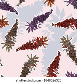 Yucca flower of lilac, red and beige colors, blue shadows on a pink background, vector pattern for all fashion prints