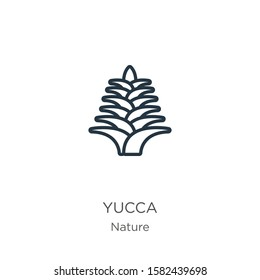 Yucca icon. Thin linear yucca outline icon isolated on white background from nature collection. Line vector sign, symbol for web and mobile