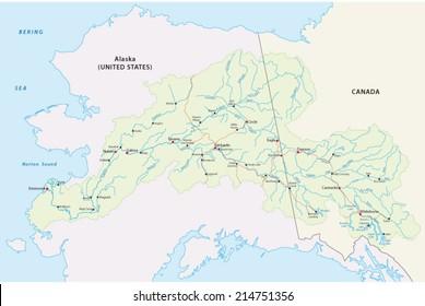 Map Of Canada Yukon River.Yukon River Stock Vectors Images Vector Art Shutterstock