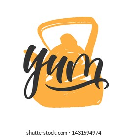 Yum cooking lettering. Hand drawn vector. Composition for badges, labels, logo, bakery, street festival, farmers market, country fair, shop, kitchen classes, cafe, food studio, stories, posts