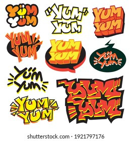 Yum Yum typography,Vector illustration.  Applicable for poster,label,logo,sticker,web,social.