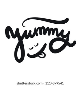 Yum. Yummy word. Hand drawn vector lettering. Illustration isolated on background.