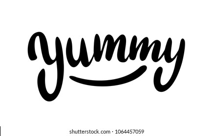 Yum. Yummy word. Vector lettering on white background.