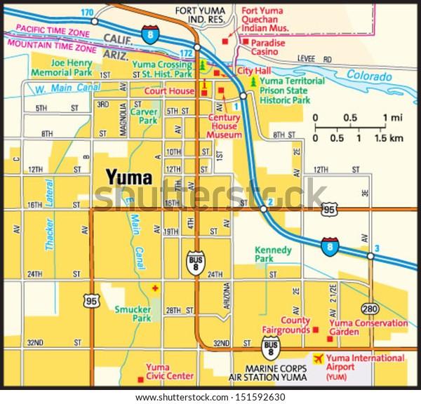 Map Of Yuma Arizona And Surrounding Area.Yuma Arizona Area Map Stock Vector Royalty Free 151592630