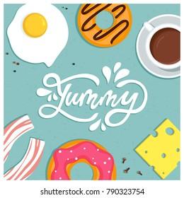 Yummy! Breakfast food vector illustration