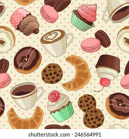 Yummy colorful chocolate cupcakes, cookies, donuts and cups of coffee seamless pattern, light yellow