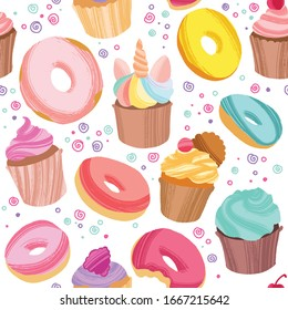 Yummy colorful donuts, cookies and cupcakes. Hand drawn seamless pattern on white background. Vector decorative elements for design cards, textile or packing paper, banner or poster.