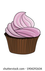 Yummy cupcake, cream topping of grapes flavor. Vector illustration