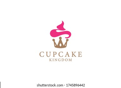 Yummy cupcake logo is sure to please any royal sweet tooth. Crown with frosting.