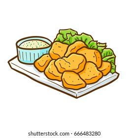 Yummy and cute chicken nugget ready to eat - vector.