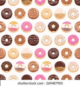 Yummy donuts seamless pattern