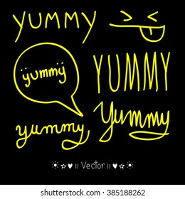 Yummy! doodle style vector design element, Illustration EPS10 great for any use.