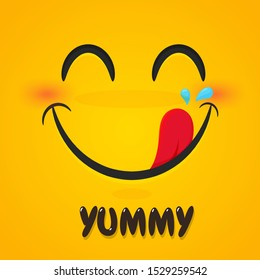 Yummy emoticon with happy smile.Yummy smile emoticon with tongue lick mouth.