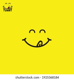 Yummy emoticon in yellow background. Poster of food. Smile logo. Cheerful emoticon. Yummy emoji