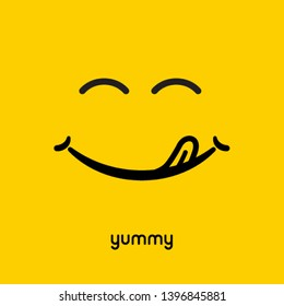 Yummy face smile delicious icon logo. Yummy tongue emoji tasty or hungry mouth smile.
