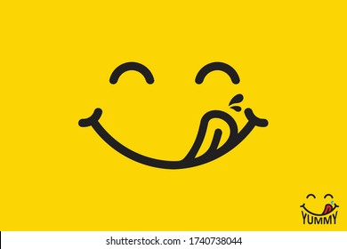 Yummy face smiley icon delicious with tongue lick mouth, tasty food eating emoticon face on yellow background, tasty emoji with saliva drops, smile vector cartoon line style