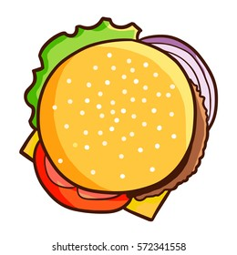 Yummy and funny hamburger from top view - vector.