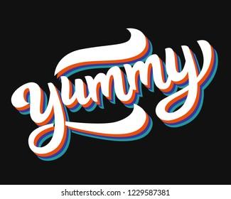 Yummy hand written word. Label sticker, banner, badge design. Vector lettering