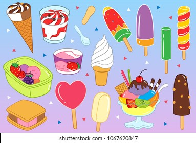 Yummy Ice Cream and Parfait Vector Illustration such as print on canvas, textile, bag, purse, note book, etc.