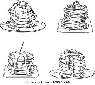 yummy pancakes with toppings, vector sketch