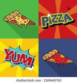 Yummy Pizza pop art, comic food - Vector