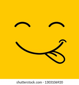 Yummy smile  cartoon line emoticon with tongue lick mouth. Delicious tasty food eating emoji face on yellow vector design background