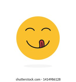 Yummy smile. Delicious, tasty eating emoji face eat with mouth and tongue gourmet enjoying taste.