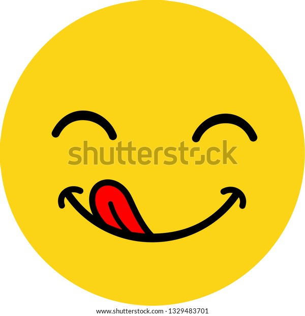Yummy Smile Delicious Tasty Eating Emoji Stock Vector Royalty Free