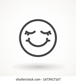 Yummy smile emoticon icon lick mouth. Editable strok Tasty food eating emoji face. Delicious cartoon on white background. Smile face line design. Savory gourmet. Yummy vector icon