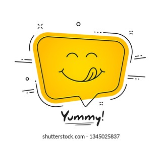 Yummy smile emoticon with tongue lick mouth. Tasty food eating emoji face. Delicious cartoon with saliva drops on yellow background. Smile face speech bubble design. Savory gourmet. Yummy vector
