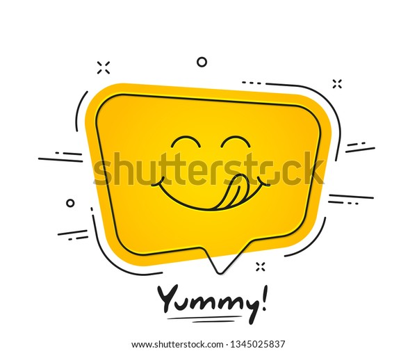Yummy Smile Emoticon Tongue Lick Mouth Stock Vector Royalty Free
