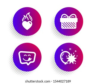 Yummy smile, Gift and Heart flame icons simple set. Halftone dots button. Balloon dart sign. Emoticon, Present, Love fire. Attraction park. Holidays set. Classic flat yummy smile icon. Vector