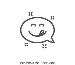 Yummy smile line icon. Emoticon with tongue sign. Speech bubble symbol. Quality design element. Linear style yummy smile icon. Editable stroke. Vector