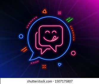 Yummy smile line icon. Neon laser lights. Emoticon with tongue sign. Speech bubble symbol. Glow laser speech bubble. Neon lights chat bubble. Banner badge with yummy smile icon. Vector