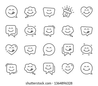 Yummy smile line icons. Emoticon speech bubble, social media message, smile with tongue. Tasty food eating emoji face icons. Delicious yummy speech bubble, happy emoticon. Vector